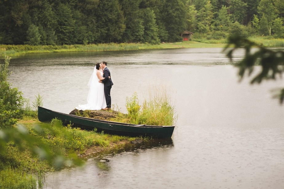 Bride and Groom Portrait at a lake at a Windham, NY Wedding