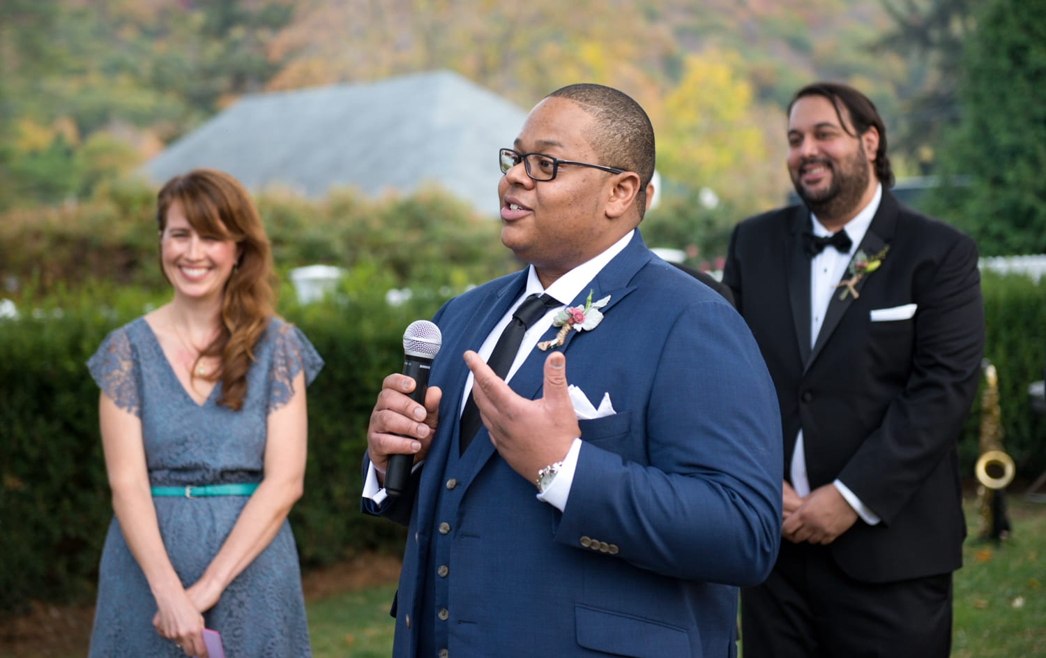 Outdoor wedding ceremony at Highlands Wedding in Garrison, NY