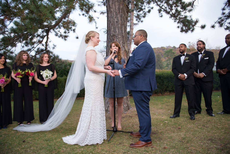 Outdoor wedding ceremony at Hudson Highlands Wedding in Garrison, NY