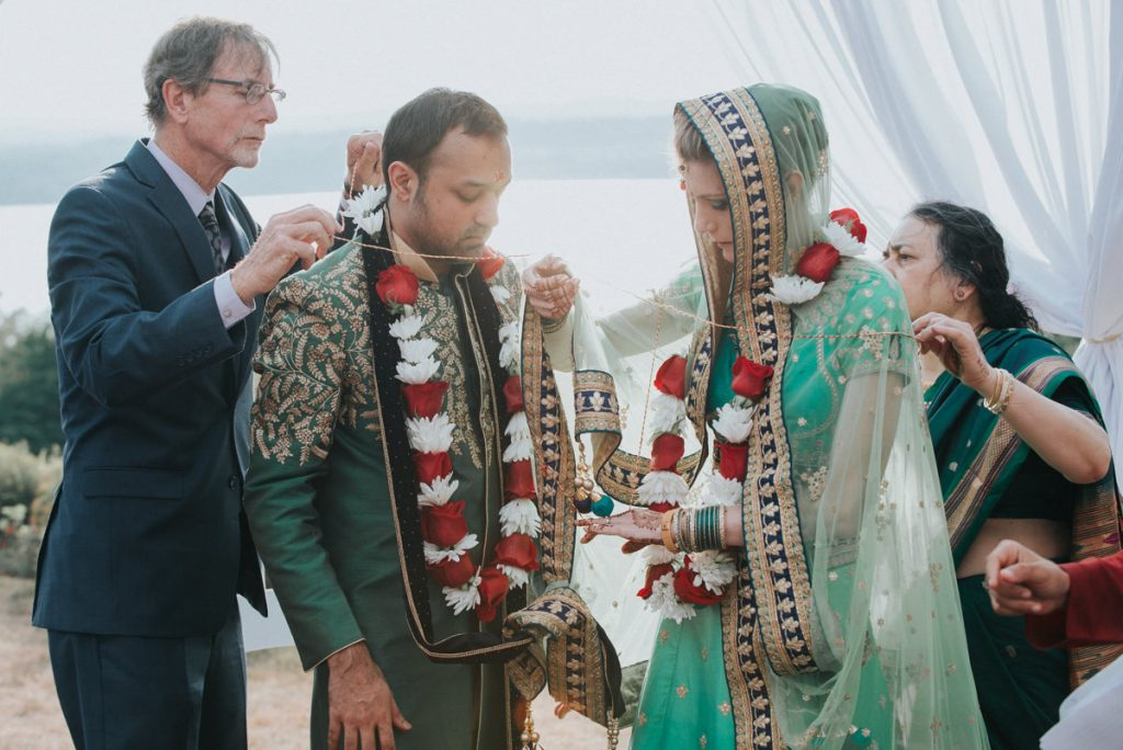 Beacon NY wedding photo of bride and groom during an Indian wedding ceremony