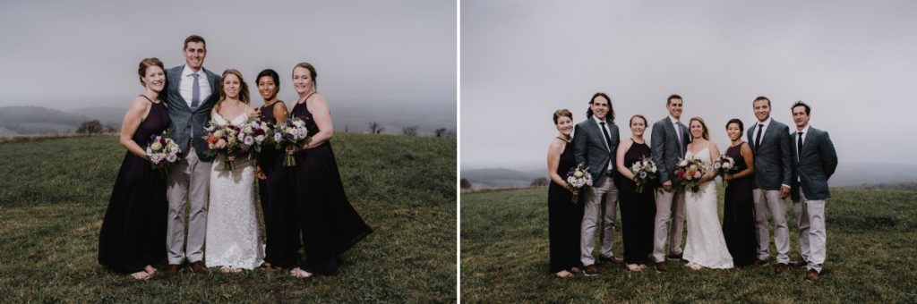 Globe Hill wedding party photos on a foggy day