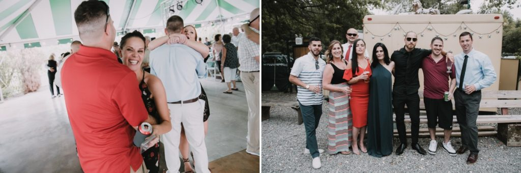 Photos of guests at a Fishkill Golf Course wedding reception