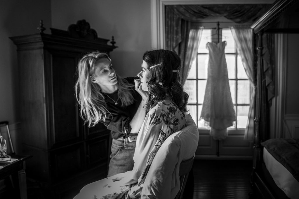 Westchester, NY Tarrytown House Estate wedding, bride getting ready