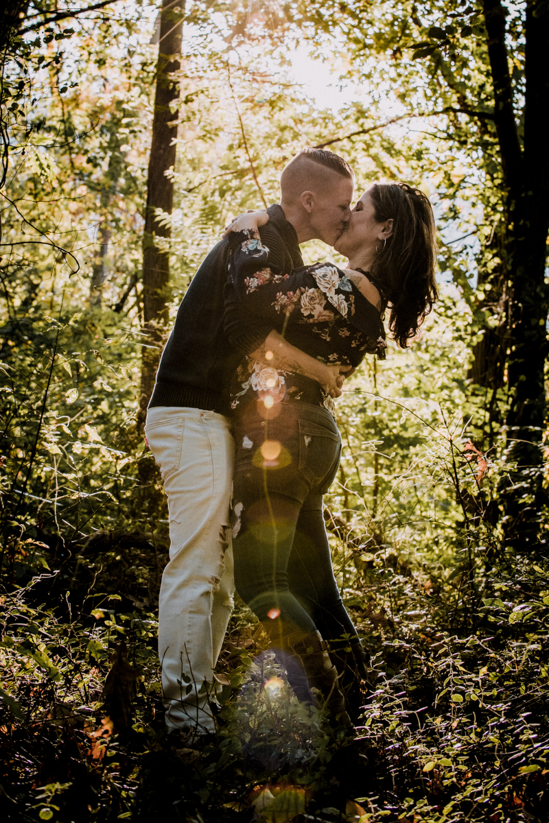 cold spring engagement photo