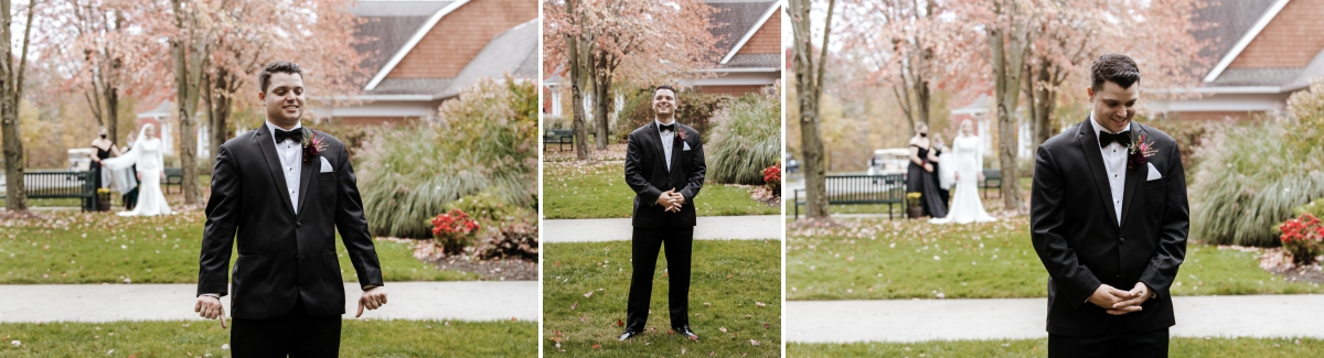 Hollow brook wedding first look in cortlandt manor ny